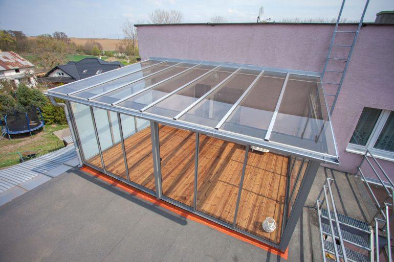 Celohliníková terasa na prvom podlaží rodinného domu