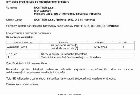 CERTIFIKÁT – Vyhlásenie o parametroch